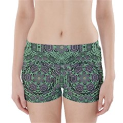 Bamboo Wood And Flowers In The Green Boyleg Bikini Wrap Bottoms by pepitasart