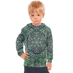 Bamboo Wood And Flowers In The Green Kids  Hooded Pullover