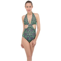 Bamboo Wood And Flowers In The Green Halter Front Plunge Swimsuit by pepitasart
