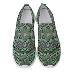 Bamboo Wood And Flowers In The Green Women s Slip On Sneakers