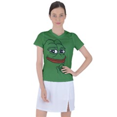 Pepe The Frog Smug Face With Smile And Hand On Chin Meme Kekistan All Over Print Green Women s Mesh Sports Top