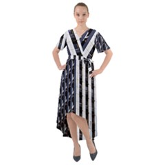 Architecture Building Pattern Front Wrap High Low Dress