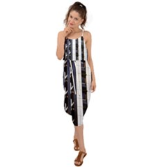 Architecture Building Pattern Waist Tie Cover Up Chiffon Dress