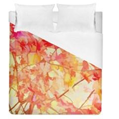 Monotype Art Pattern Leaves Colored Autumn Duvet Cover (queen Size) by Amaryn4rt