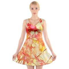 Monotype Art Pattern Leaves Colored Autumn V-neck Sleeveless Dress by Amaryn4rt