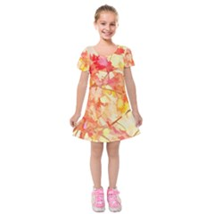 Monotype Art Pattern Leaves Colored Autumn Kids  Short Sleeve Velvet Dress by Amaryn4rt