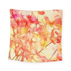 Monotype Art Pattern Leaves Colored Autumn Square Tapestry (small) by Amaryn4rt