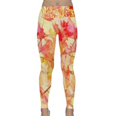 Monotype Art Pattern Leaves Colored Autumn Lightweight Velour Classic Yoga Leggings by Amaryn4rt