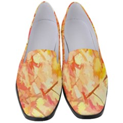 Monotype Art Pattern Leaves Colored Autumn Women s Classic Loafer Heels by Amaryn4rt