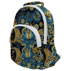 Retro Ethnic Background Pattern Vector Rounded Multi Pocket Backpack