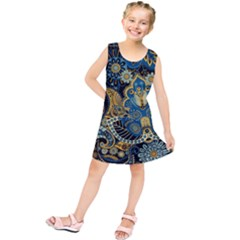 Retro Ethnic Background Pattern Vector Kids  Tunic Dress