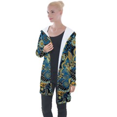 Retro Ethnic Background Pattern Vector Longline Hooded Cardigan