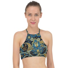 Retro Ethnic Background Pattern Vector Racer Front Bikini Top
