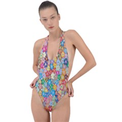 Sakura Cherry Blossom Floral Backless Halter One Piece Swimsuit by Amaryn4rt