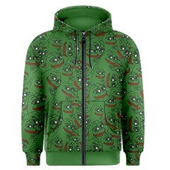 Pepe The Frog Perfect A-ok Handsign Pattern Praise Kek Kekistan Smug Smile Meme Green Background Men s Zipper Hoodie by snek