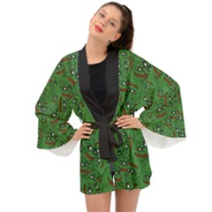 Pepe The Frog Perfect A-ok Handsign Pattern Praise Kek Kekistan Smug Smile Meme Green Background Long Sleeve Kimono by snek