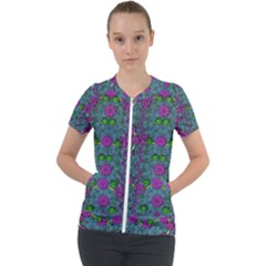 The Most Beautiful Flower Forest On Earth Short Sleeve Zip Up Jacket by pepitasart