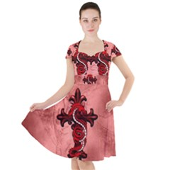 Awesome Chinese Dragon Cap Sleeve Midi Dress by FantasyWorld7