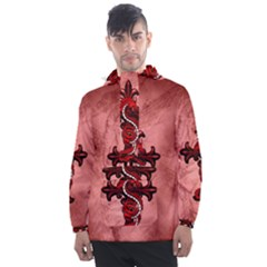 Awesome Chinese Dragon Men s Front Pocket Pullover Windbreaker by FantasyWorld7