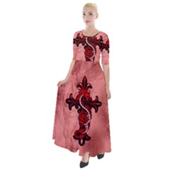 Awesome Chinese Dragon Half Sleeves Maxi Dress by FantasyWorld7