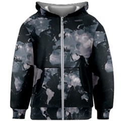 Black Map Kids  Zipper Hoodie Without Drawstring by goljakoff