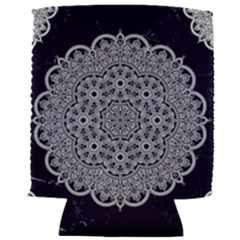 White Mandala On Blue Ink Can Holder