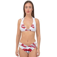 Red Lips Double Strap Halter Bikini Set by goljakoff