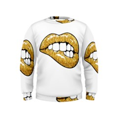 Gold Glitter Lips Kids  Sweatshirt by goljakoff