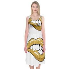 Gold Glitter Lips Midi Sleeveless Dress by goljakoff