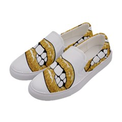 Gold Glitter Lips Women s Canvas Slip Ons by goljakoff
