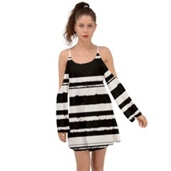 Bandes Abstrait Blanc/noir Kimono Sleeves Boho Dress