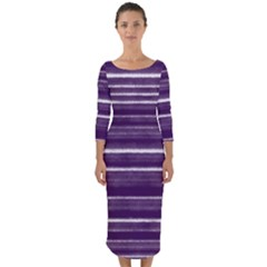 Bandes Peinture Violet  Quarter Sleeve Midi Bodycon Dress by kcreatif