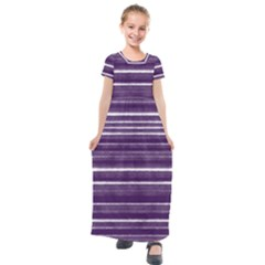 Bandes Peinture Violet  Kids  Short Sleeve Maxi Dress by kcreatif