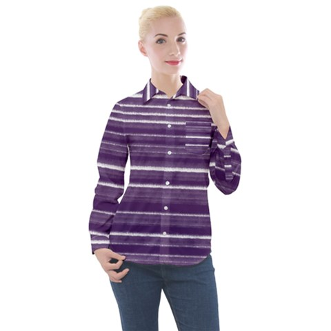 Bandes Peinture Violet  Women s Long Sleeve Pocket Shirt by kcreatif