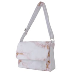 Pink And White Marble Texture With Gold Intrusions Pale Rose Background Full Print Messenger Bag (l)