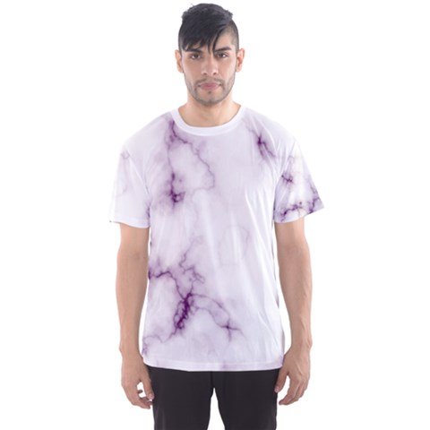 White Marble Violet Purple Veins Accents Texture Printed Floor Background Luxury Men s Sports Mesh Tee by genx