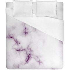 White Marble Violet Purple Veins Accents Texture Printed Floor Background Luxury Duvet Cover (california King Size) by genx