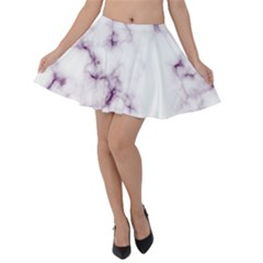 White Marble Violet Purple Veins Accents Texture Printed Floor Background Luxury Velvet Skater Skirt by genx