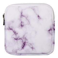 White Marble Violet Purple Veins Accents Texture Printed Floor Background Luxury Mini Square Pouch by genx