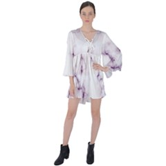 White Marble Violet Purple Veins Accents Texture Printed Floor Background Luxury V-neck Flare Sleeve Mini Dress
