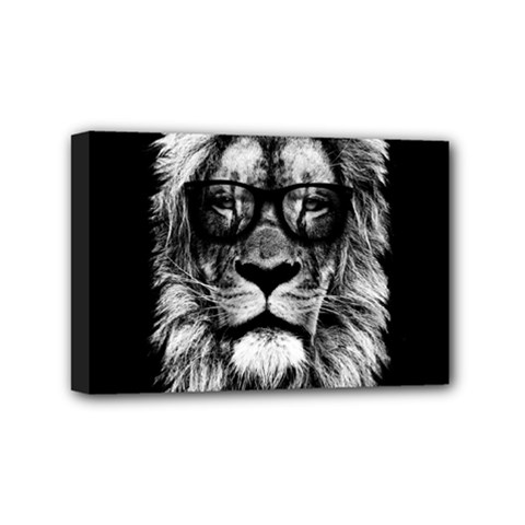 Hipster Lion Mini Canvas 6  X 4  (stretched) by goljakoff