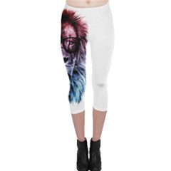 Hipster Lion Capri Leggings  by goljakoff