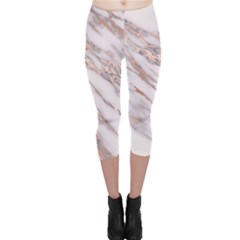 Marble With Metallic Rose Gold Intrusions On Gray White Stone Texture Pastel Pink Background Capri Leggings  by genx