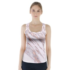 Marble With Metallic Rose Gold Intrusions On Gray White Stone Texture Pastel Pink Background Racer Back Sports Top by genx