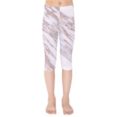 Marble With Metallic Rose Gold Intrusions On Gray White Stone Texture Pastel Pink Background Kids  Capri Leggings  by genx