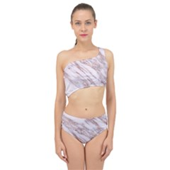 Marble With Metallic Rose Gold Intrusions On Gray White Stone Texture Pastel Pink Background Spliced Up Two Piece Swimsuit by genx