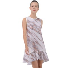 Marble With Metallic Rose Gold Intrusions On Gray White Stone Texture Pastel Pink Background Frill Swing Dress by genx