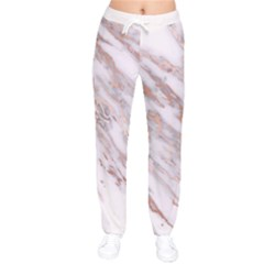 Marble With Metallic Rose Gold Intrusions On Gray White Stone Texture Pastel Pink Background Women Velvet Drawstring Pants by genx