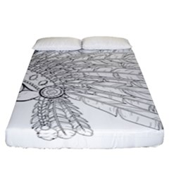Indian Skull Fitted Sheet (king Size) by goljakoff
