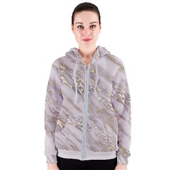 Marble With Metallic Gold Intrusions On Gray White Stone Texture Pastel Rose Pink Background Women s Zipper Hoodie by genx